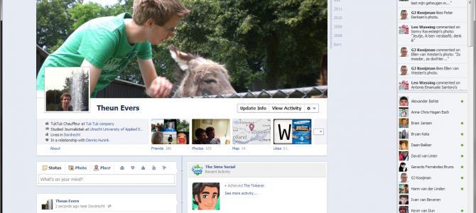 De nieuwe FaceBook 'Timeline' profiel interface