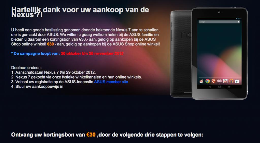 Info pagina Nexus 7